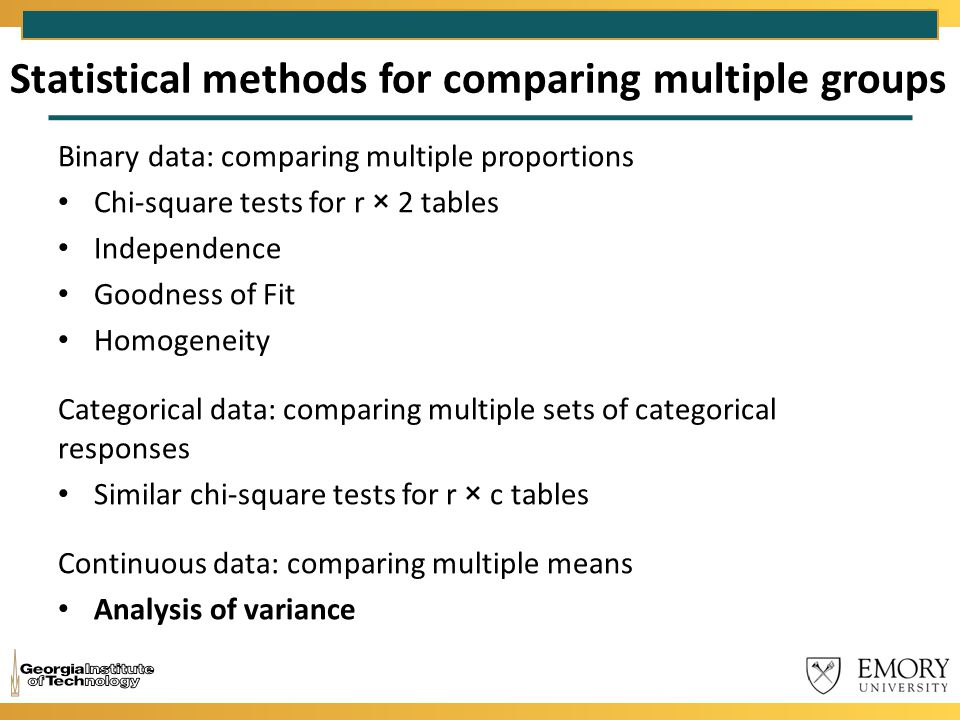 Statistical methods for comparing multiple groups