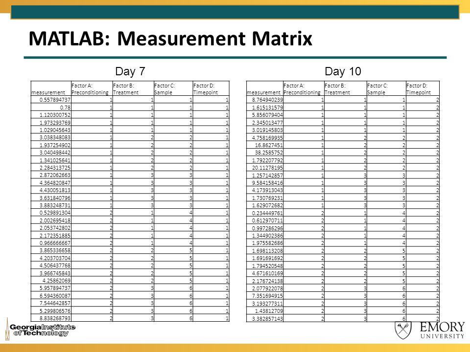 MATLAB: Measurement Matrix