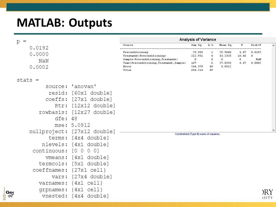 MATLAB: Outputs p = 0.0192 0.0000 NaN 0.0002 stats = source: anovan