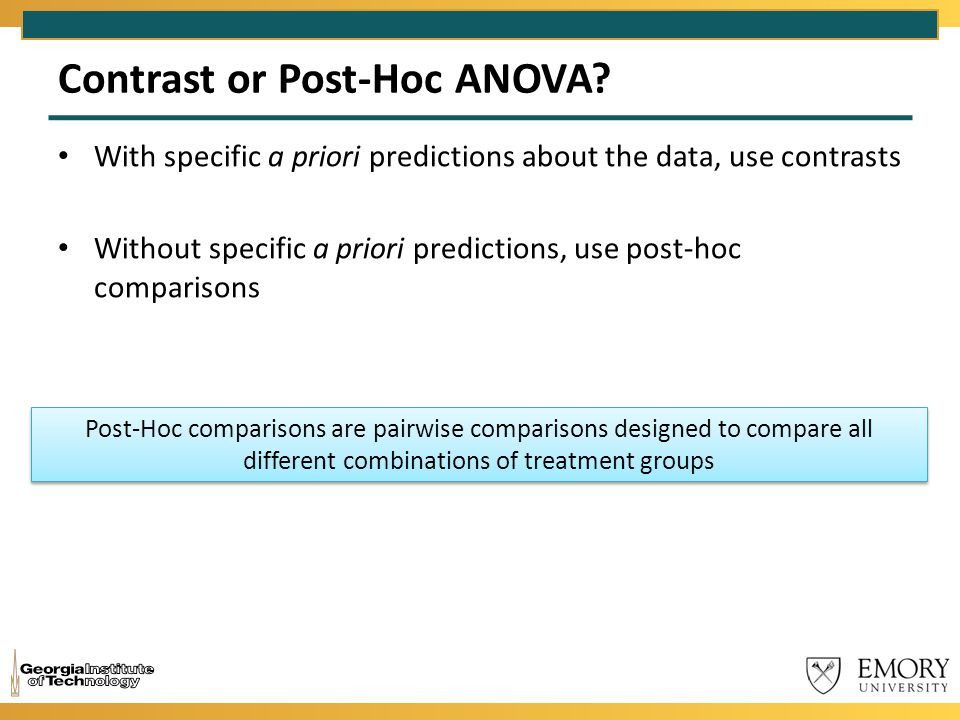 Contrast or Post-Hoc ANOVA