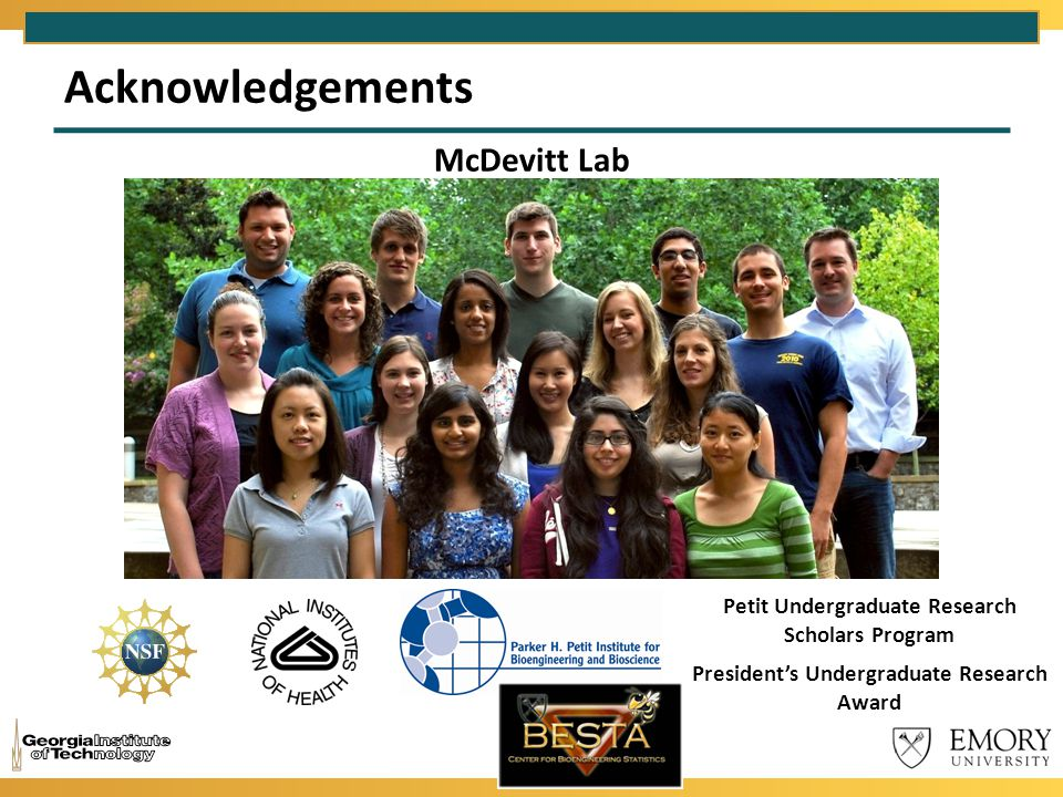 Acknowledgements McDevitt Lab