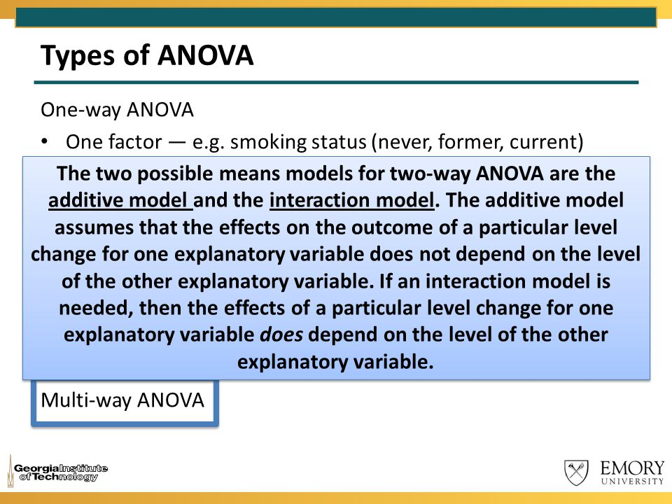 Types of ANOVA One-way ANOVA