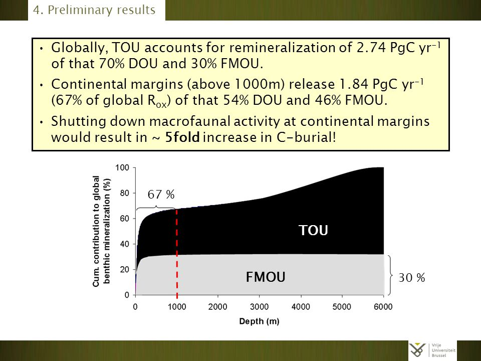 4. Preliminary results Globally, TOU accounts for remineralization of 2.74 PgC yr-1 of that 70% DOU and 30% FMOU.