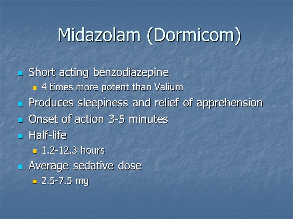 Midazolam (Dormicom) Short acting benzodiazepine