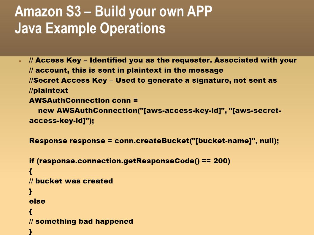 Amazon S3 – Build your own APP Java Example Operations