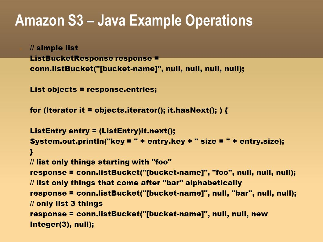 Amazon S3 – Java Example Operations
