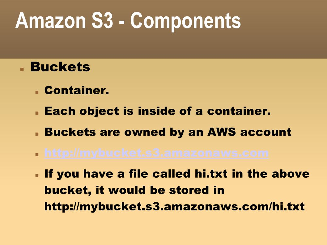 Amazon S3 - Components Buckets Container.