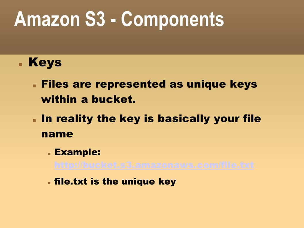 Amazon S3 - Components Keys