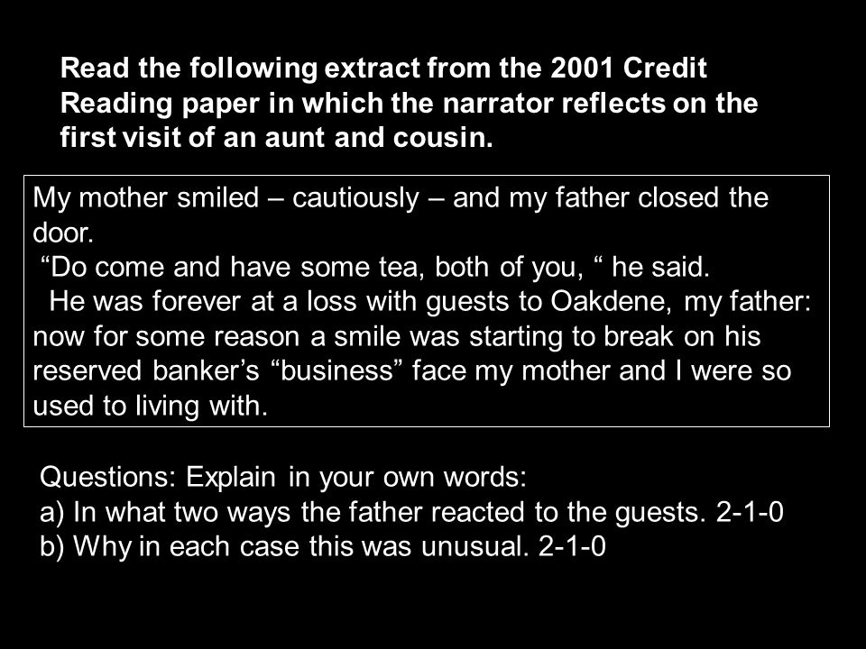 Read the following extract from the 2001 Credit Reading paper in which the narrator reflects on the first visit of an aunt and cousin.
