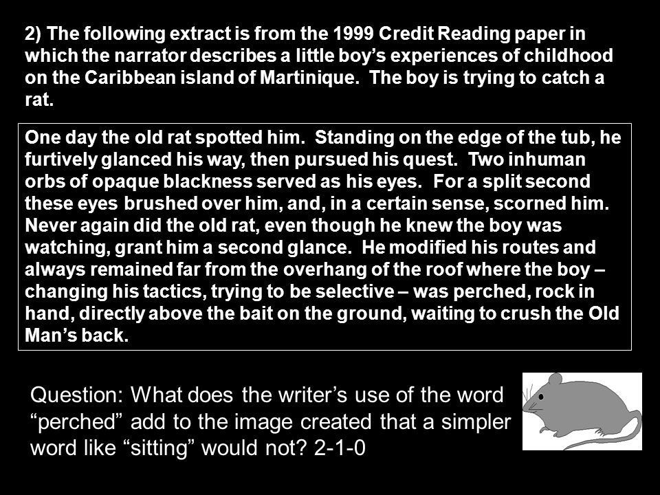 2) The following extract is from the 1999 Credit Reading paper in which the narrator describes a little boy's experiences of childhood on the Caribbean island of Martinique. The boy is trying to catch a rat.
