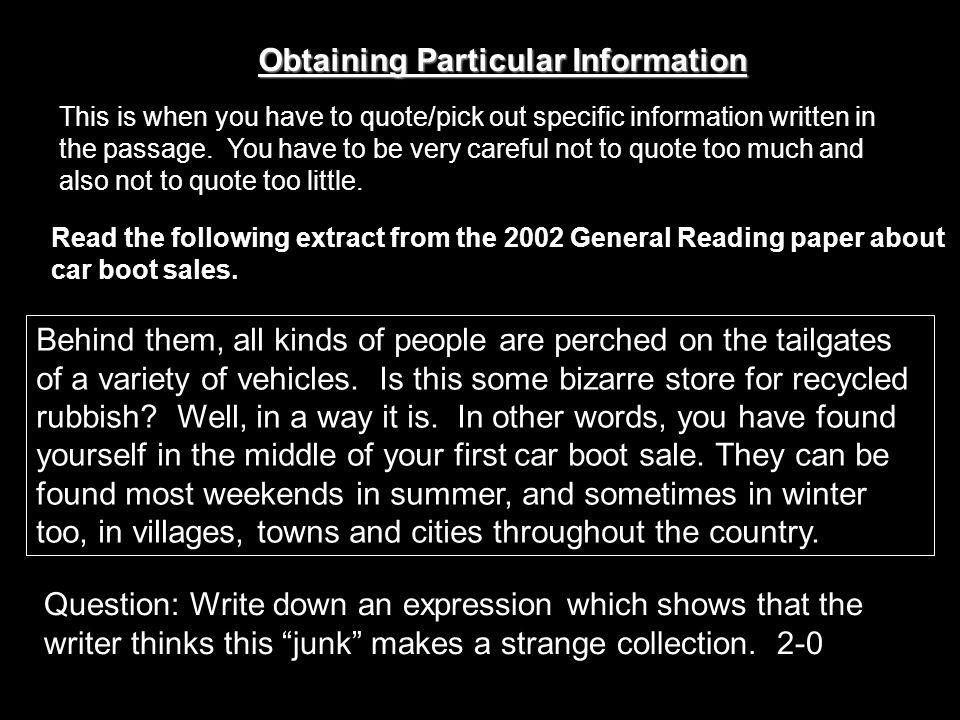 Obtaining Particular Information