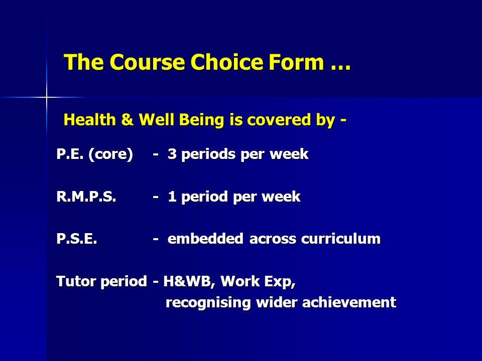 The Course Choice Form …