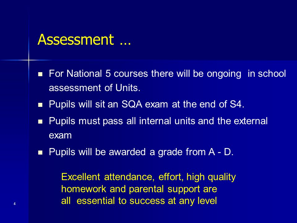 Assessment … For National 5 courses there will be ongoing in school assessment of Units. Pupils will sit an SQA exam at the end of S4.