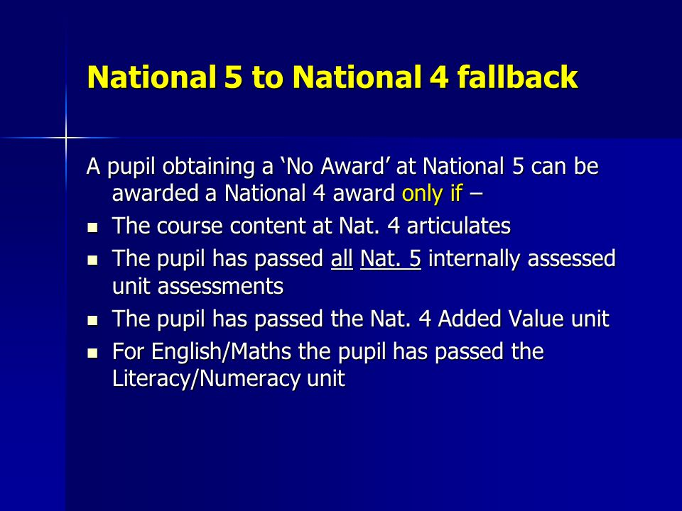 National 5 to National 4 fallback