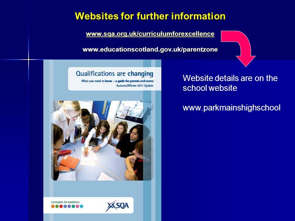 Websites for further information www. sqa. org