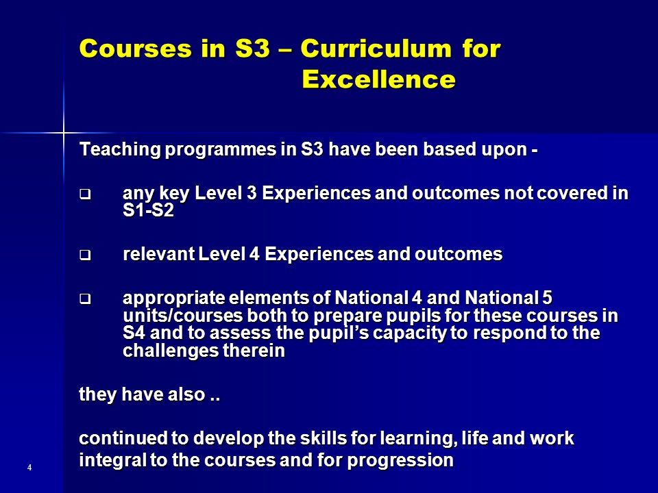 Courses in S3 – Curriculum for Excellence