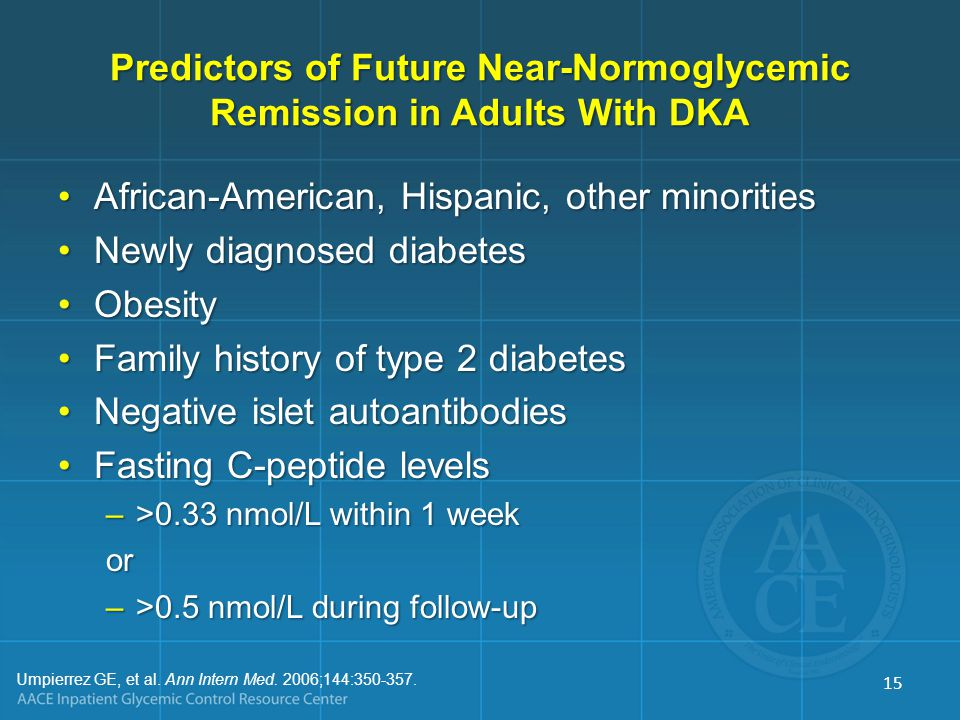 Predictors of Future Near-Normoglycemic Remission in Adults With DKA