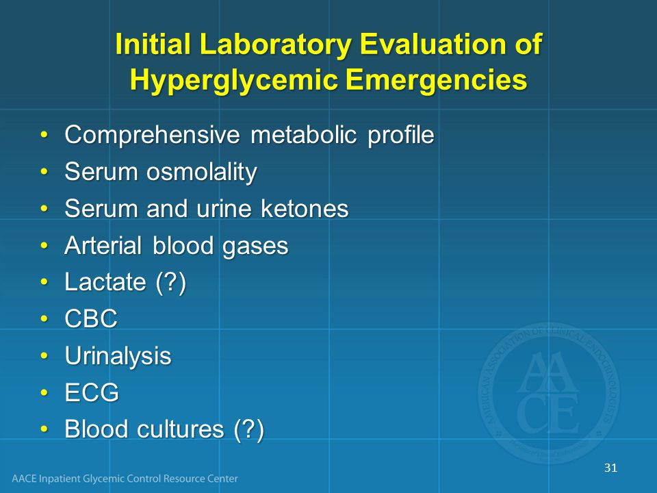 Initial Laboratory Evaluation of Hyperglycemic Emergencies