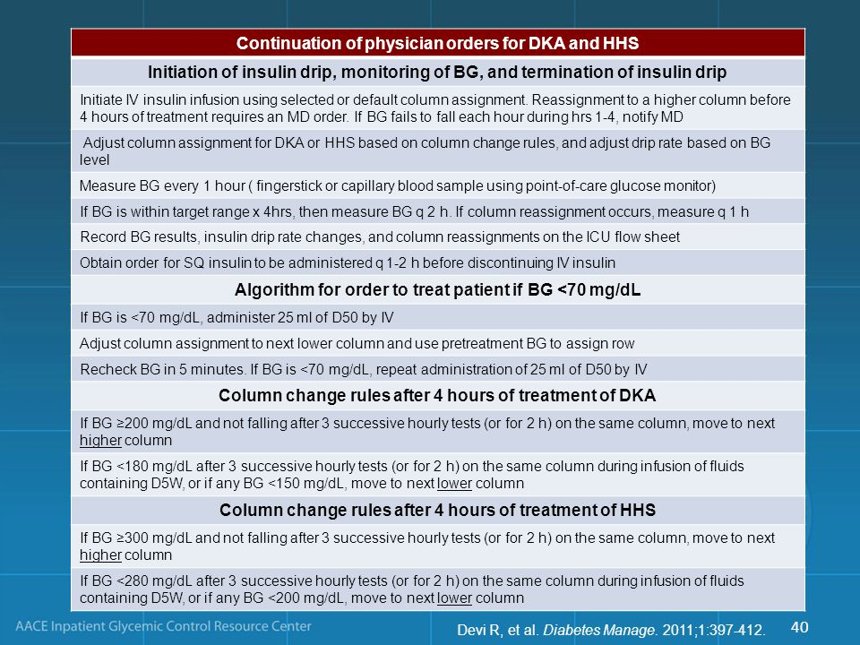 Continuation of physician orders for DKA and HHS