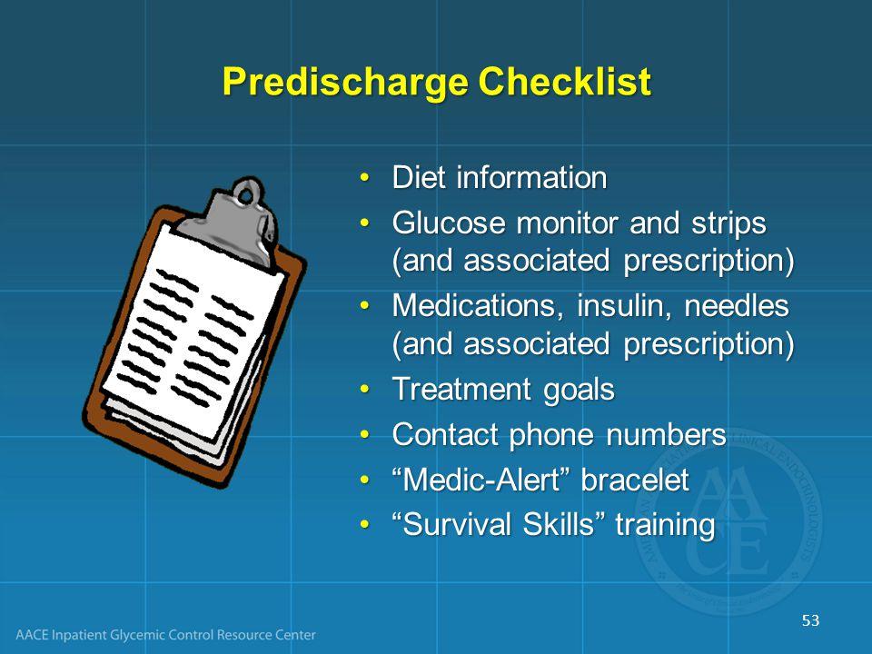 Predischarge Checklist