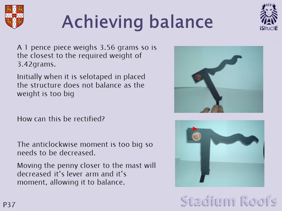 Achieving balance A 1 pence piece weighs 3.56 grams so is the closest to the required weight of 3.42grams.