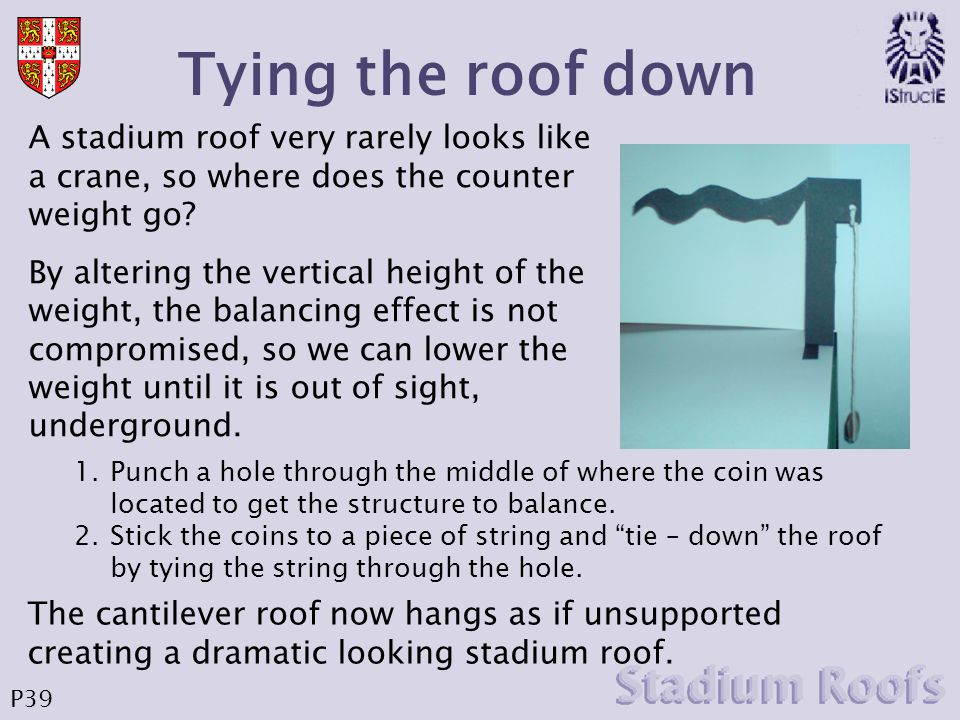 Tying the roof down A stadium roof very rarely looks like a crane, so where does the counter weight go