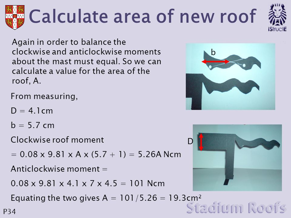 Calculate area of new roof