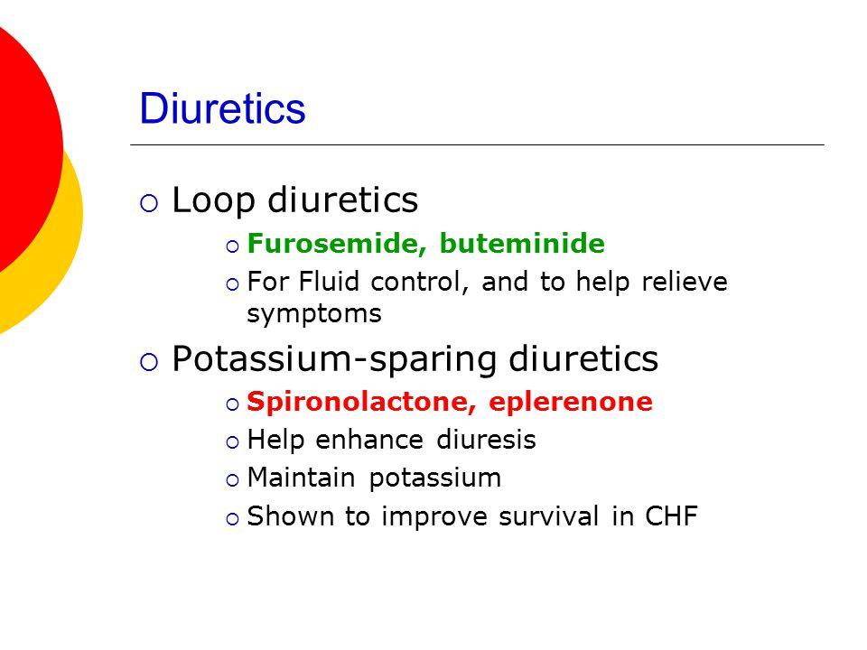 Diuretics Loop diuretics Potassium-sparing diuretics