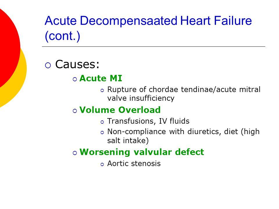 Acute Decompensaated Heart Failure (cont.)