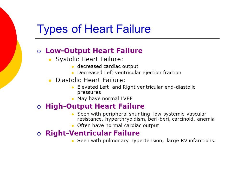 Types of Heart Failure Low-Output Heart Failure
