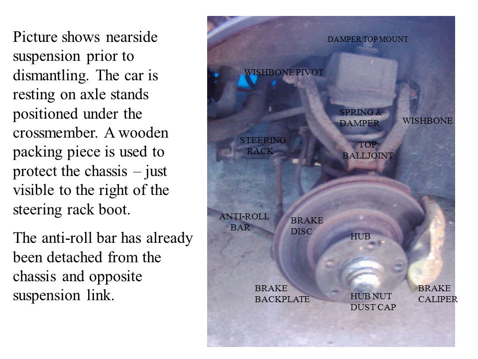 Picture shows nearside suspension prior to dismantling