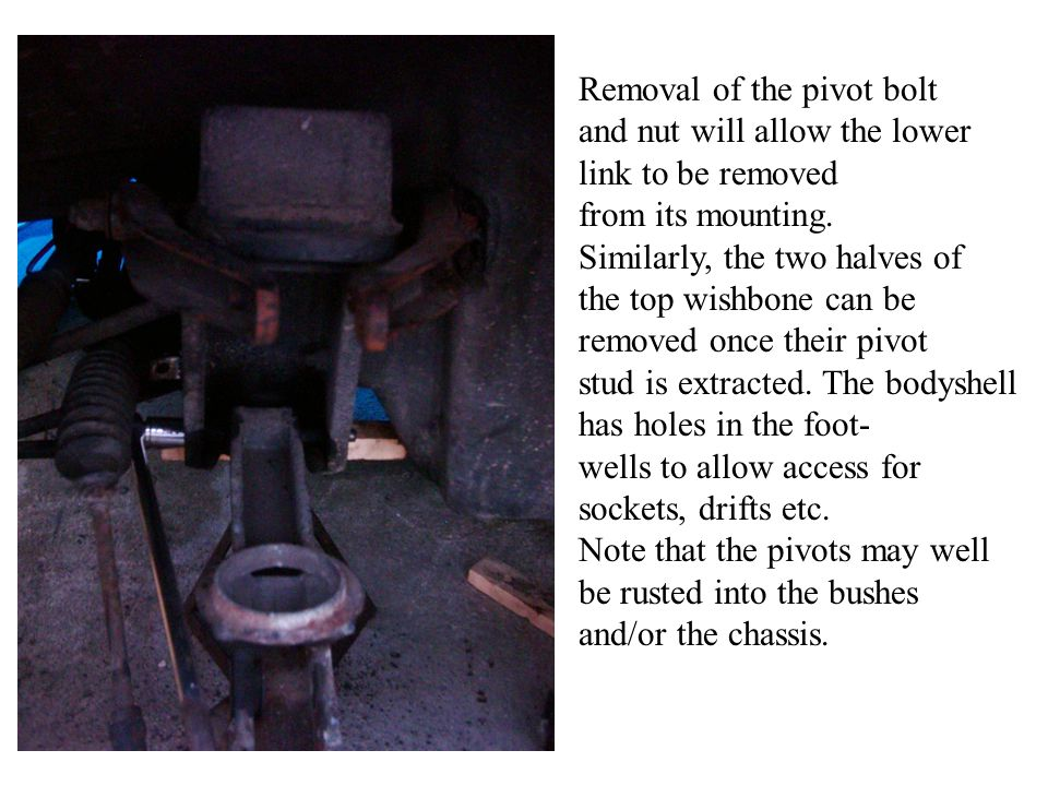 Removal of the pivot bolt