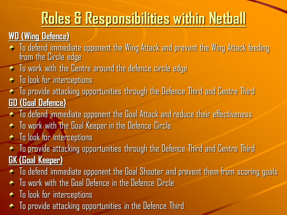 Roles & Responsibilities within Netball