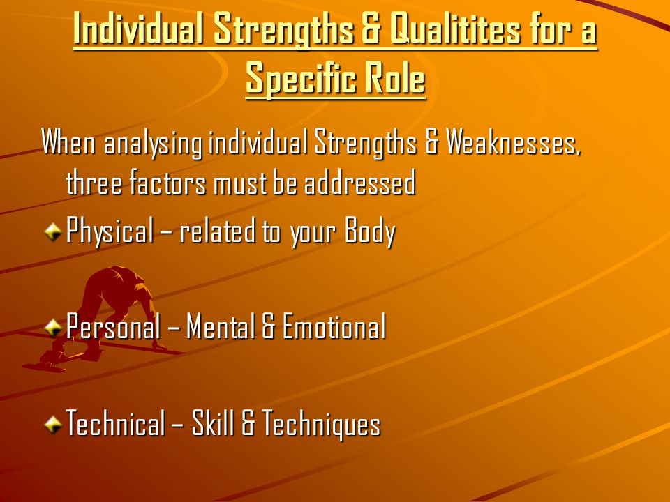 Individual Strengths & Qualitites for a Specific Role