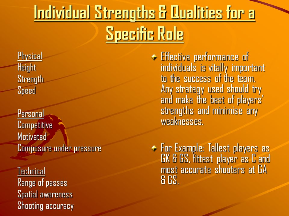Individual Strengths & Qualities for a Specific Role