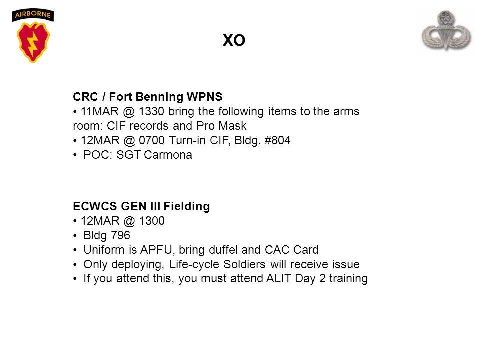 XO CRC / Fort Benning WPNS