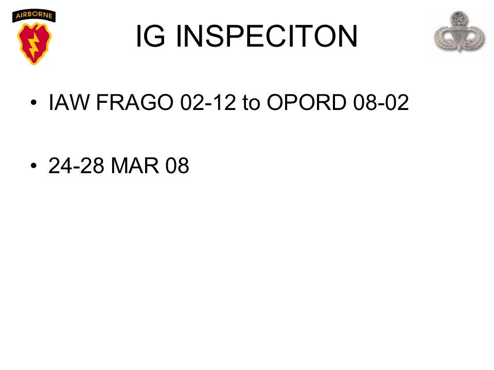 IG INSPECITON IAW FRAGO 02-12 to OPORD 08-02 24-28 MAR 08