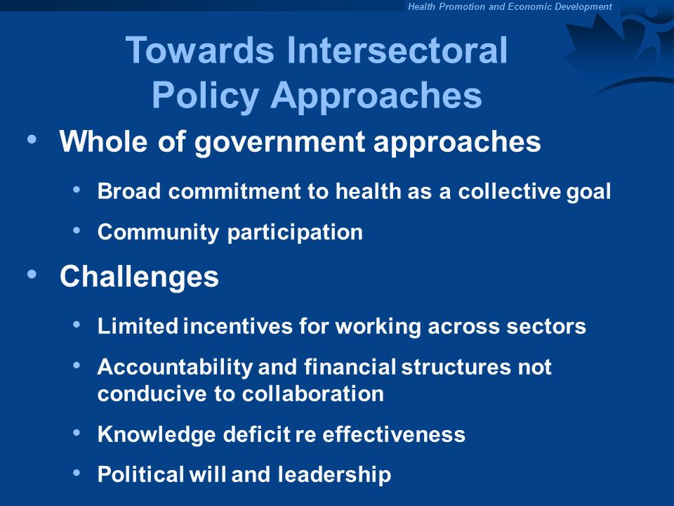 Towards Intersectoral Policy Approaches