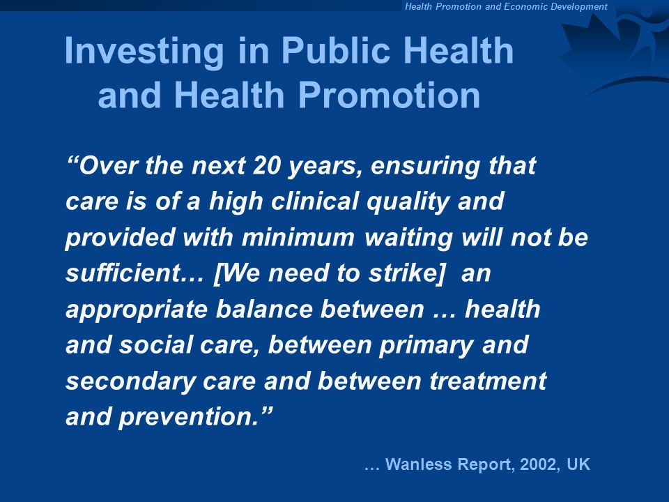 Investing in Public Health and Health Promotion