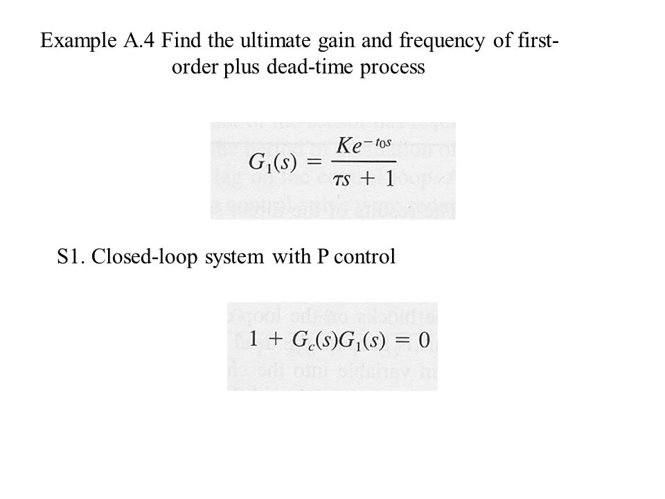 Example A.4 Find the ultimate gain and frequency of first-order plus dead-time process