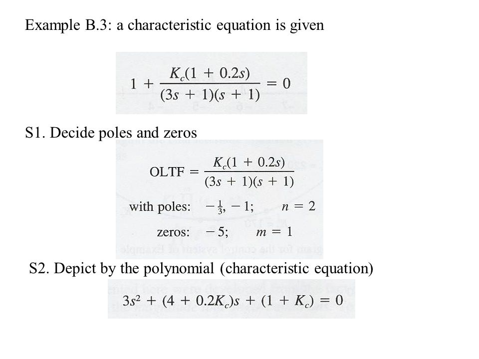 Example B.3: a characteristic equation is given