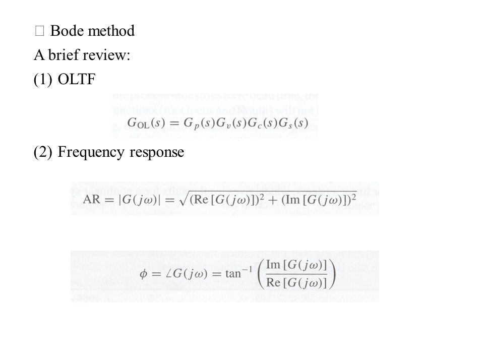※ Bode method A brief review: OLTF Frequency response
