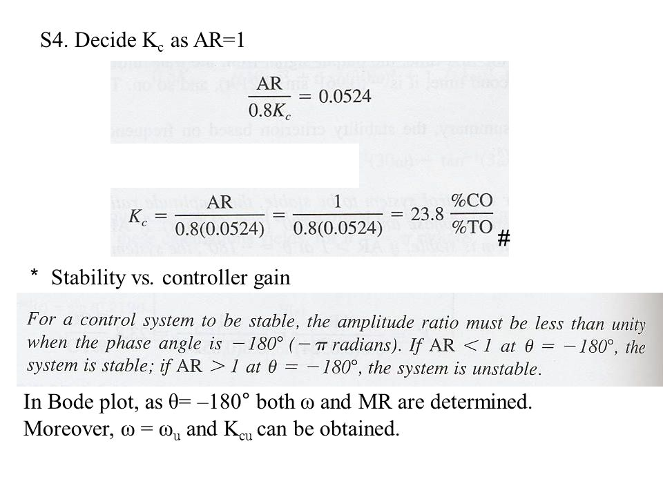S4. Decide Kc as AR=1 # * Stability vs. controller gain.