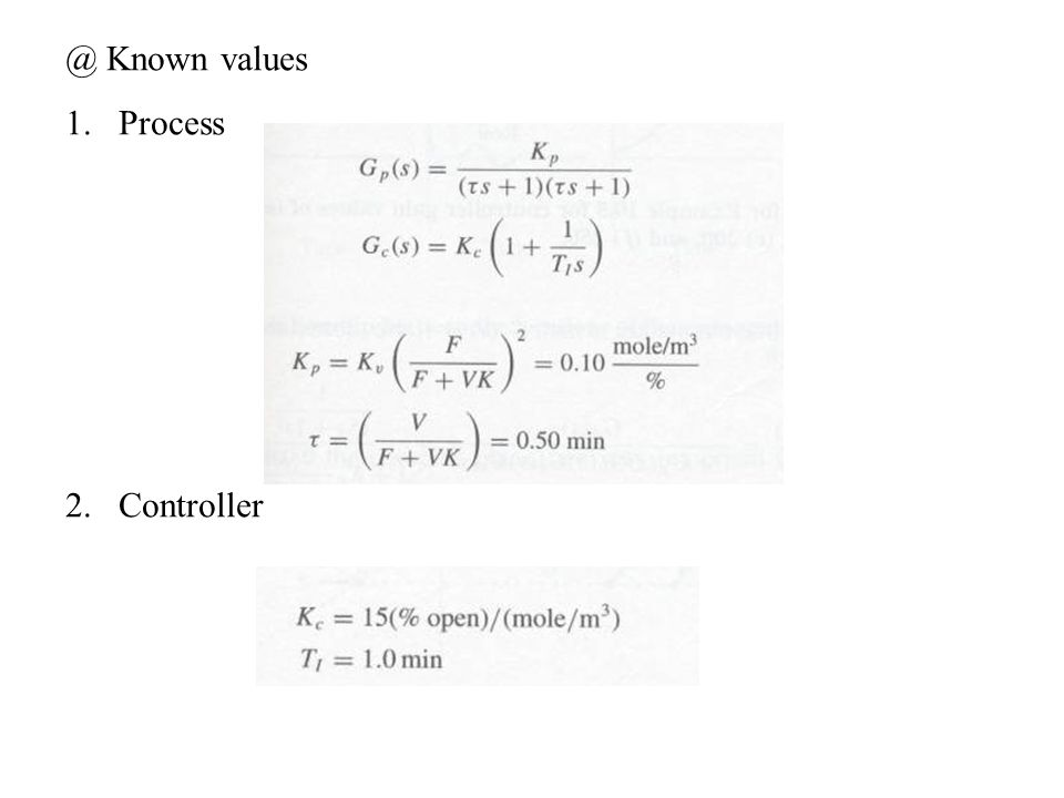 @ Known values Process Controller