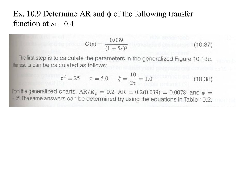 Ex Determine AR and  of the following transfer function at