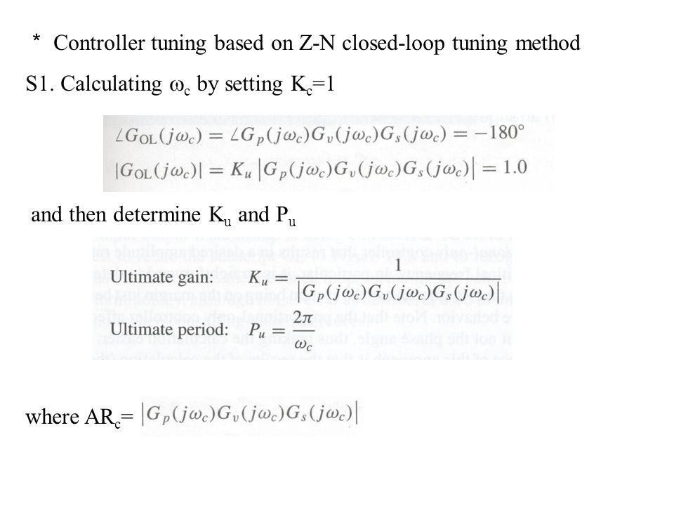 * Controller tuning based on Z-N closed-loop tuning method
