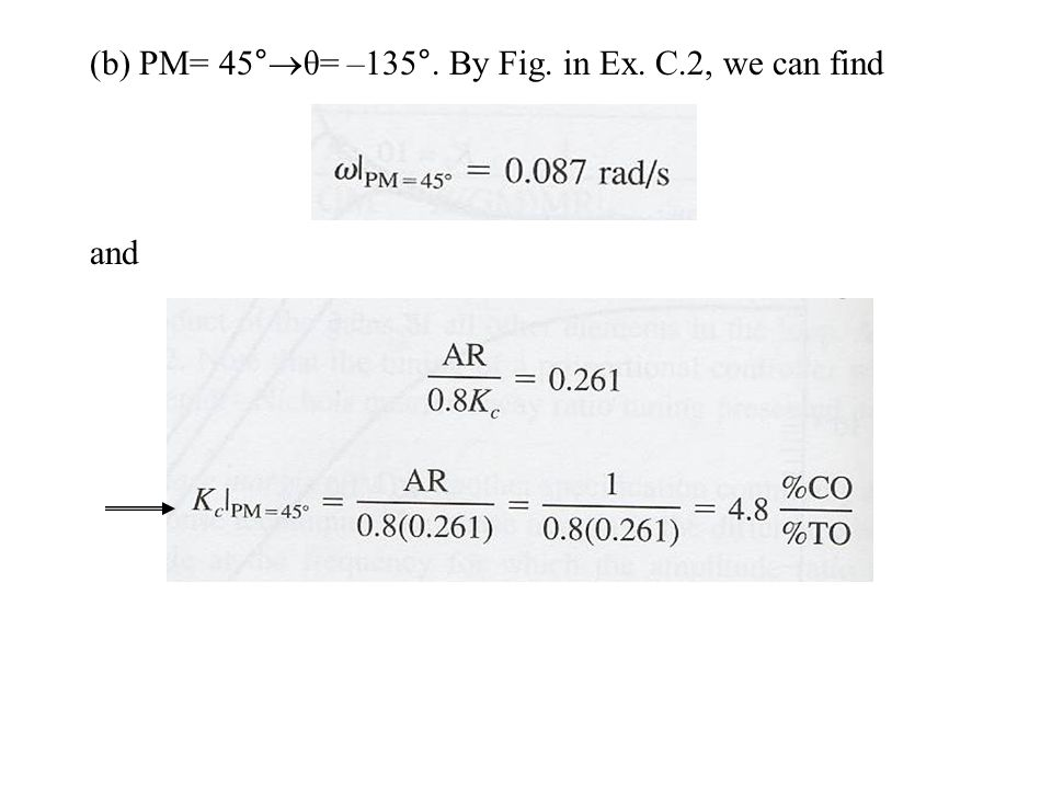 (b) PM= 45°θ= –135°. By Fig. in Ex. C.2, we can find