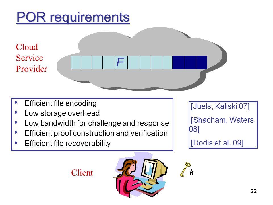 POR requirements F F Cloud Service Provider Client