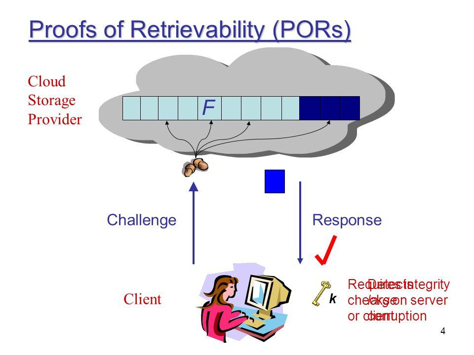Proofs of Retrievability (PORs)