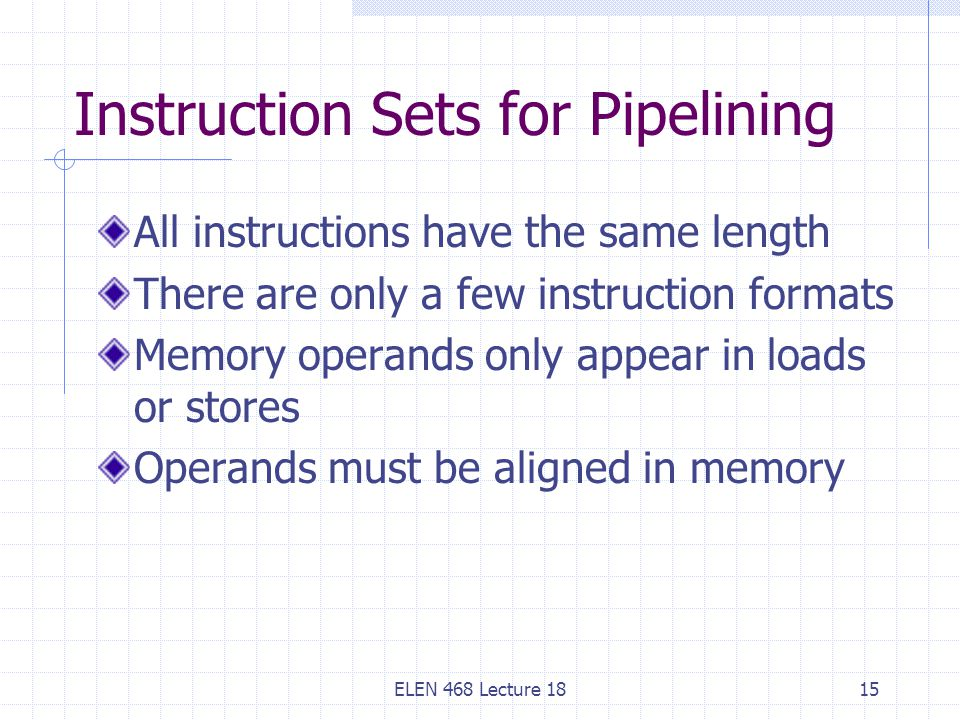 Instruction Sets for Pipelining